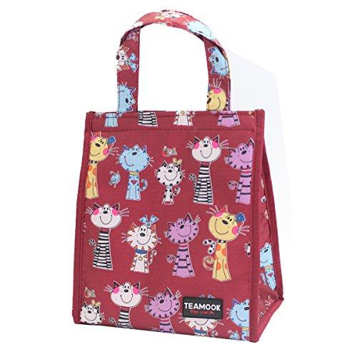 TEAMOOK lunch bag borsa termica per il pranzo morbido Cooler bag per adulti e bambini scuola Red Cat