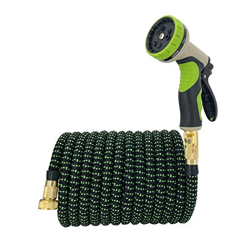 25ft-100ft telescopische Tuinslang Magic flexibele Waterslang Rubber slang met spuitpistool, Car Wash bloem Sprinkler Pipe Joint 3-4 (Color : Green, Lengh : 100ft 30m)