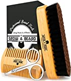 Beard Brush, Beard Comb, Beard Scissors, Beard Oil & Beard Balm Grooming Kit for Men