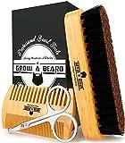 Beard Brush & Comb Set w/ Beard Scissors Grooming Kit, Beard Brush For Men, Natural Boar Bristle Beard Brush, Men's Beard Brush, Boars Hair Beard Brush, Beard Brush Set, Wood Comb Great For Mustaches (Bamboo)