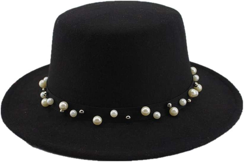 no-branded Boater Flat Top Hat Felt Wide Brim Fedora Hat Lady Prok Pie Chapeu De Feltro Bowler Gambler Hat ZRZZUS (Color : Black, Size : 56-58cm)