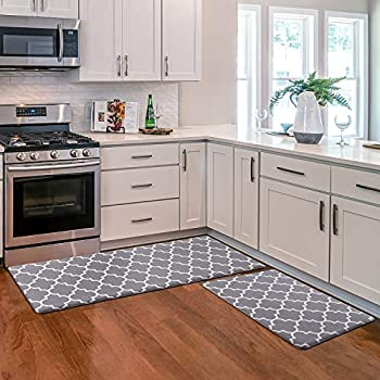 KMAT Kitchen Mat [2 PCS] Cushioned Anti-Fatigue Kitchen Rug Waterproof Non-Slip Kitchen Mats and Rugs Heavy Duty PVC Ergonomic Comfort Foam Rug for Kitchen Floor Home Office Sink Laundry,Grey