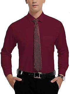 AMACH Mens Dress Shirts, Slim Fit Long Sleeve Button Down Dress Shirts Fashion Dress Shirts for Men