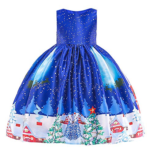 K-youth Vestidos para Niñas De Navidad Vestido de Niña Papá Noel Vestido Navidad Niña Fiesta Disfraces Vestidos de Fiesta para Niñas Elegantes Infantil Ropa para Niña(Azul Oscuro, 2-3 años)