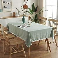 長方形テーブルクロスシンプルな洗浄綿テーブルクロス白い豪華なボールタッセルテーブルカバー用キッチンテーブルビュッフェ装飾,グリーン,140*180cm/55*71in