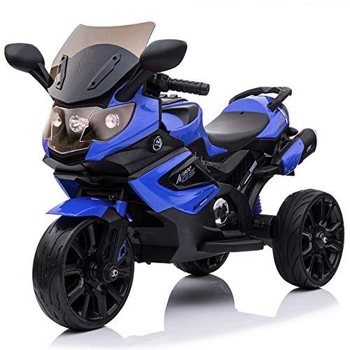 Elektrisches Kinderfahrzeug Kinder Motorrad Trike Elektrofahrzeug mit Licht und Sound, 2x12V Motoren, Eva-Reifen, Ledersitz (BLAU)