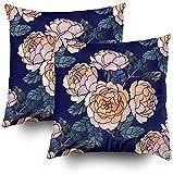 Fundas de almohada, patrón sin costuras de rosas amarillas con acuarela sobre fondo azul, fundas de almohada para sofá, decoración del hogar, dormitorio