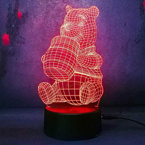 3D Honey Winnie l'Ourson Led Ampoule Décoration Lumières Enfant Nuit Animal Nouveauté Atmosphère Touch Mood Lampe