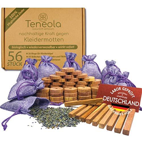 Teneola 56 x Lavendel gegen Motten und Zedernholz Mottenschutz Lavendelsäckchen Mottenschutz mit geprüftem Lavendel aus der Provence und Amerikanische Zeder ideal für Kleiderschrank