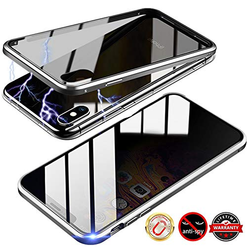 TraCa Magnetic Case for iPhone 6/6S, Anti Peeping Magnetic Privacy Adsorption with Clear Double Sided Tempered Glass 360 Full Protective Compatible with Apple iPhone 6/6S Silver