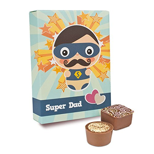 Super Dad - 6 Pralinen für Papa | Vatertagsgeschenk | Geschenkidee Vatertag | Geschenk | Vater | Geburtstag | Geschenkidee | Vater | Papa | köstliche Auswahl | Schokolade | Premium Qualität
