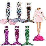 Festfun 4 Sets Bikini Sirène Vêtements Robes Sirène Arc-en-Ciel + 1 Pyjama + 1 Queue de Poisson pour Poupée Fille de 11,5 Pouces
