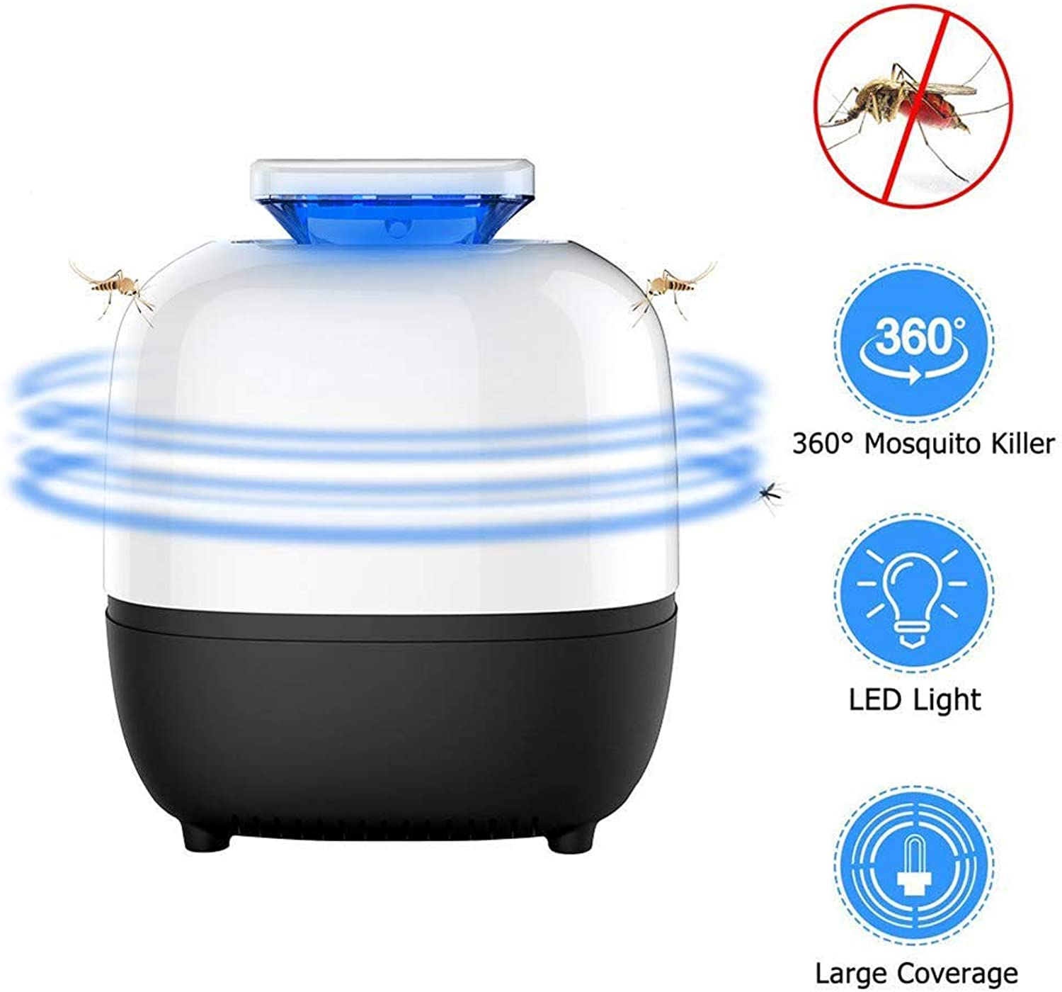 Mosquito Killer Bug Zapper Lamp Electric Insect Killer USB Powered UV LED Mosquito Insect Trap with Built in Fan for Indoor Bedroom Kitchen Garden Office Use (Black)