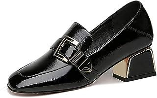 [ツネユウシューズ] レディース チャンキーヒール パンプス エナメル ブラック ローヒール 太ヒール ヒール約5cm スクエアトゥ コンフォート 女性用 婦人靴 仕事 通勤 ブラック ソフト 結婚式 歩きやすい 痛くない 柔らかい 大きいサイズ