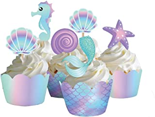 CC HOME 20 Pieces Mermaid Theme Cupcake Topper Cake Picks & Wrappers Decoration for Baby Shower Birthday Party Favor Bag Holder, Seahorse and Starfish,Mermaid Tail Food Picks