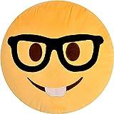 PLUSH & PLUSH TM 12' Inch / 30cm Large Emoji Pillows Smiley Emoticon Soft Plush Stuffed Yellow Roundy Full Collection (USA SELLER) (NERD BOY)