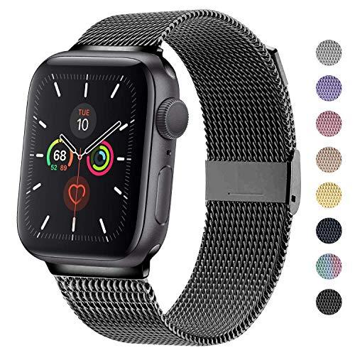 MOUKOU Ersatz Armband kompatibel mit Apple Watch 38mm 40mm 42mm 44mm Armbänder verstellbares Edelstahl-Mesh-Ersatzband für iWatch Serie 5/4/3/2/1