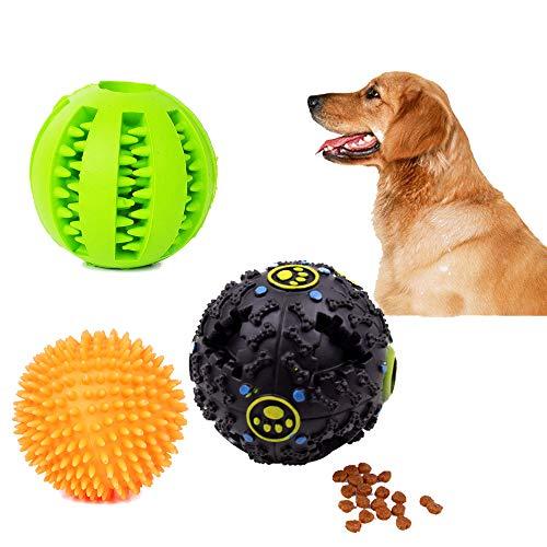 3Pack Hunde Spielzeug Ball set,Bissfester Ball mit Geräusche, Dentalball Gummi Bälle zum Kauen,Spielzeug Bestens Geeignet für Welpen und Kleine Mittlere Hunde,Erhöht den IQ Steigert das Lernverhalten
