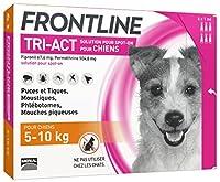Six pipettes anti-puces et anti-tiques FRONTLINE TRI-ACT pour chien de 5 à 10 kg Protection cinq parasites, Puces, tiques et moustiques : quatre semaines - Phlébotomes : trois semaines - Mouches piqueuses : cinq semaines Protection habitat, - Elimine...