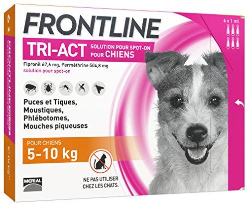 FRONTLINE TRI-ACT Chien - Anti-puces et anti-tiques pour chien - 5-10kg - 6 pipettes