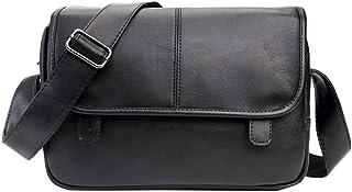 Bolso de Hombre de Piel Sintética Bolso Bandolera Cuero Hombre Bolso de Hombro Business Crossover Body Bag Bolsa de Mensajero Casual Tipo Satchel para iPad Oficina Viaje Colegio Negro