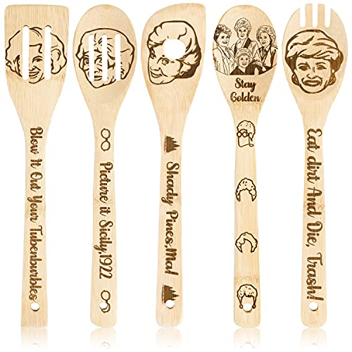 Eartim 5 PCS Golden Girls TV Wooden Spoons Utensils Set, Natural Non-Stick Carve Kitchen Cooking Slotted Spatula Burned Bamboo Cookware Cooking Gadget House Warming Presents Fun Gift Idea