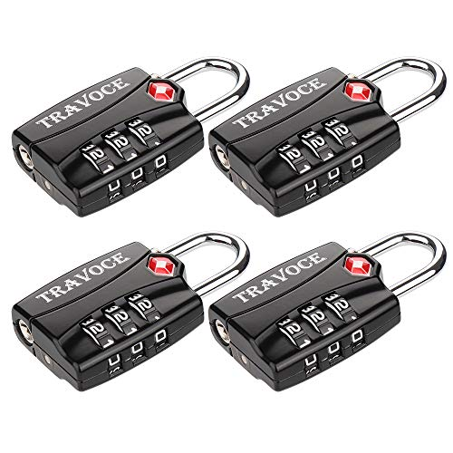 TSA Approved Luggage Locks, Travel Locks Which Also Work Great as Gym Locks, Toolbox Lock, Backpack and more, Black 4 Pack
