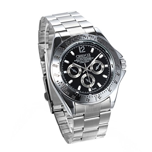 JewelryWe Herren Armbanduhr, Business Casual Analog Quarz Uhr mit Edelstahl Armband, Schwarz Zifferblatt