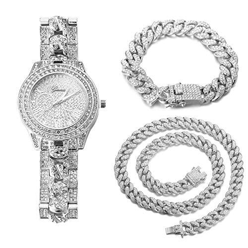 Halukakah Diamante Reloj de Oro Hombres,Platino Plateado en Oro Blanco Pulsera de Cuarzo Banda en Cadena Cubana 24cm,Cubana Pulsera 18cm + Collar 45cm,Diamante de Laboratorios,Gratis Caja de Regalo