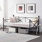 VECELO Classic Metal Daybed Frame Multifunctional Mattress Foundation/Bed Sofa with Headboard, Twin, Black