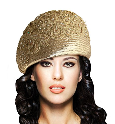 Mr. Song Millinery Beret Cloche Hat with Premium Lace - Q62 Gold