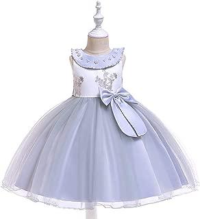 SEASHORE Princess Skirt Satin Girl Bow Flower Girl Wedding Performance Piano Costume 4-12 Years Old (Color : Gray, Size : 8-9T)