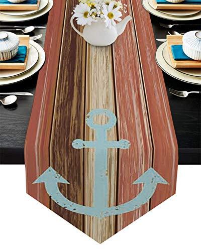 Camino de mesa de algodón y lino con borde triángulo de 33 x 182 cm, diseño de ancla envejecida, para cenas, fiestas, bodas, banquetes de boda, color rojo, vintage, rayas de madera