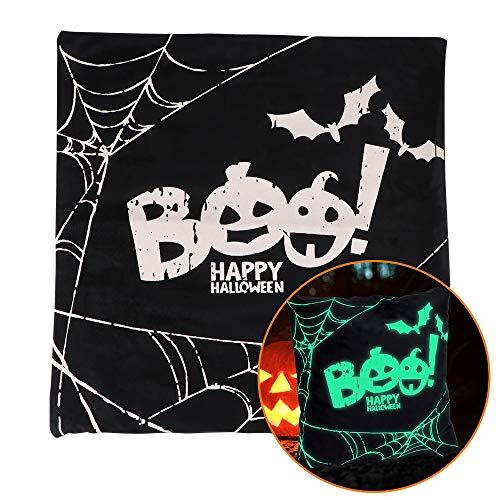 BIOBEY Funda de Almohada de Halloween Grimace Boo Luminosa Brillante Funda de Cojín Almohada Decorativa Funda de Almohada Cuadrada para Fiestas Temáticas de Halloween
