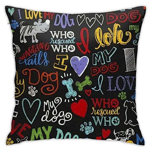 WH-CLA Pillow Cover Animal Novelty I Love My Dog 45X45Cm Cuadrado Funda De Almohada Cuadrada Impresa Funda De Almohada para El Hogar Dormitorio Sala De Estar Funda De Cojín con Cremaller