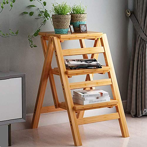 ZfgG Stap Kruk Vouwen Bamboe Creatieve Multifunctionele Huishoudelijke Ladder/Hoge Kruk/Bar Stoel/Bed Tafel/Plank/Bloemenstandaard, 2/3/4 Lagen