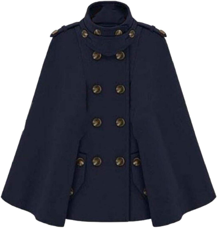 Generic Women's Classic Long Double Breasted Cloak Loose Woolen Cloak Coat Shrug Cape