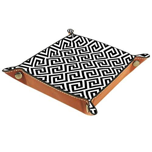 TIKISMILE Bandeja de almacenamiento con líneas geométricas abstractas griegas de piel con diseño antiguo, organizador de cosméticos, bandeja para el hogar, oficina, escritorio, llaves de escritorio, etc. Plato cuadrado