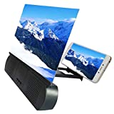 Goeco Amplificador Pantalla Telefono, Pantalla Lupa para Móvil, HD Pantalla 3D de 10 Pulgadas, con Altavoz Bluetooth, Carga USB