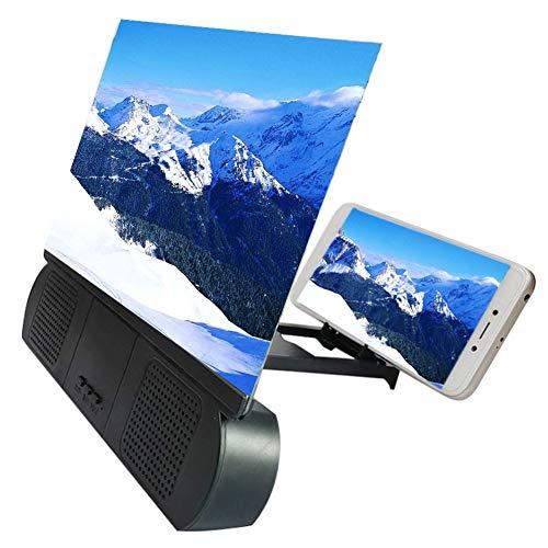 Goeco Schermo 3D da 10 Pollici Schermo del Telefono Cellulare Lente d'Ingrandimento, Amplificatore Video HD Rack di Estensione Pieghevole con Altoparlante Bluetooth