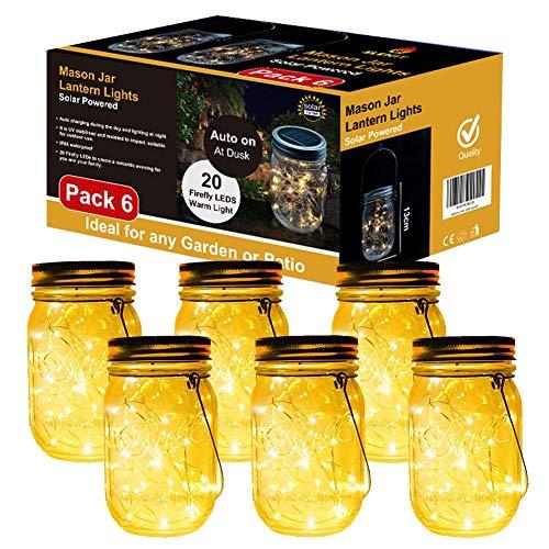 Lampada Solare, 6 Pezzi Lampade Solari Barattolo di Vetro Illuminante Impermeabile Lampade con 20 LED per da Esterno Giardino Giardino Feste Camera da Letto Decorazioni, Luce Bianco Caldo (6 Pezzi)