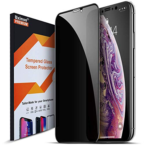 Uxinuo Compatible with iPhone Xs Max Privacy Screen Protector Premium 4D Curved Edge to Edge Full Coverage Privacy Tempered Glass Screen Protector for iPhone Xs Max 2018, 6.5inch
