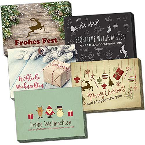 30 Weihnachtskarten und 30 Umschläge im Set (5 verschiedene Motive) Vintage Modern Weihnachten Grußkarte im Postkarten Format