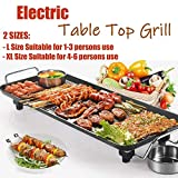 Electric Smokeless Table Top Grill, BBQ Griddle Non-Stick Barbecue Hot Plate for Kitchen Dinner Party Camping Festival Cooking, Extra Large Size - 67x29.5x8.5cm