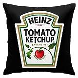 Funda de almohada Heinz Tomate Ketchup Decorativa Funda de Almohada Decoración del Hogar Cuadrado 45,7 x 45,7 cm