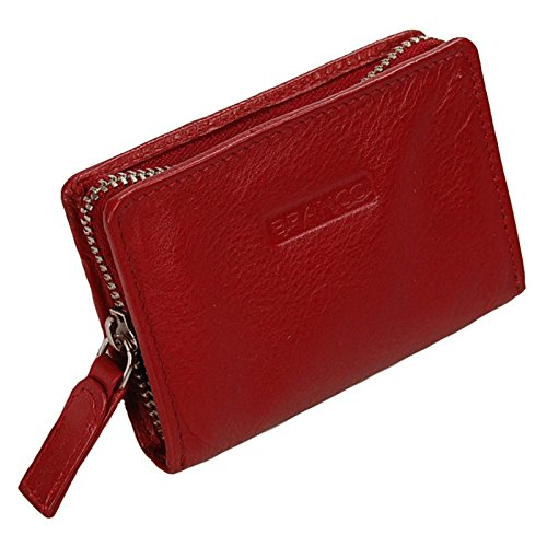GoBago Branco Mini Reißverschluss Geldbörse Leder Geldbeutel Münzbörse PortmoneeGoBago (Rot)