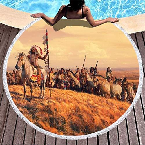 FZDB Vintage Native American Indian Army Plain Artwork Print Microfiber Round Beach Serviette with Glands Bohemian Round Fringe Beach Throw Beach Roundie White 59 inch