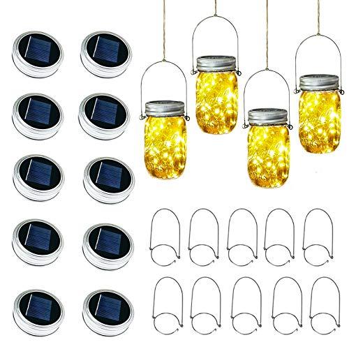 Solar Mason Jar Lid Lights, 10 Pack 30LED String Fairy Star Firefly Jar Lids Lights,10 Hangers Included(Jars Not Included), Best for Mason Jar Decor,Patio Garden Decor Solar Laterns Table Lights