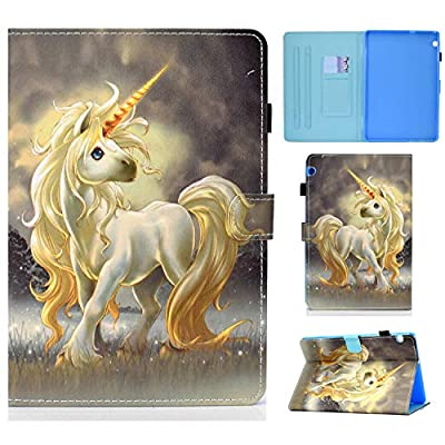 Jajacase Funda Folio Huawei MediaPad T5 10 2018 -Slim Carcasa Cuero PU Silicona y Multiángulo y Soporte Case Cover Protector-Unicornio