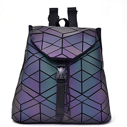 Ange-Y Lingge PU Backpack Ladies Backpack Luminous Backpack Geometric Luminous Backpack Variety Lingge Bag Pumping Buckle Geometric Bag Ladies New Bag Backpack
